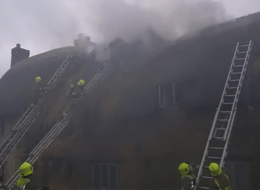 Thatch roof fire