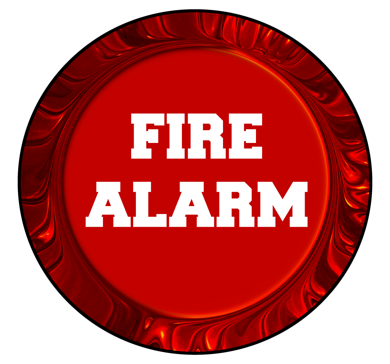 Fire Alarm text in red circle